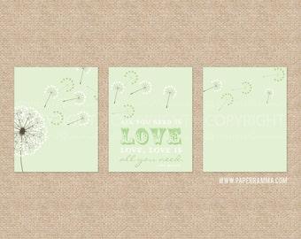 Beatles Quote Nursery Print, All you need is love Kids Room Giclée Art Prints, 3 Print Set, Custom match colors to a room // N-G30-3PS AA1
