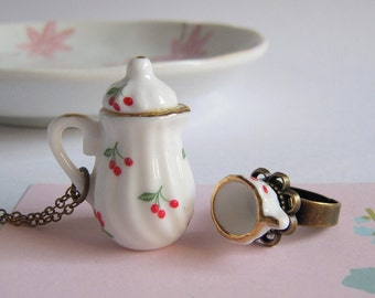 Jewelry Set Teapot Necklace, Tea Cup Ring, Little Cherries Miniature Ceramic Jewelry, Tea Party Accessories