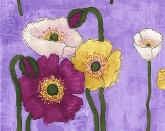 Laura Gunn Fabric Vignette Gathered Poppies in Orchid Half Yard