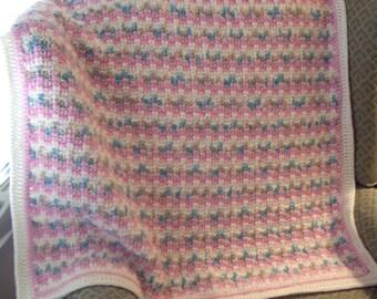 Pink Lap Afghan Cream Border Crochet Cozy Warm Soft Plush
