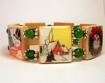 CHRISTMAS JEWELRY SCRABBLE Bracelet / Unusual Gifts / Upcycled