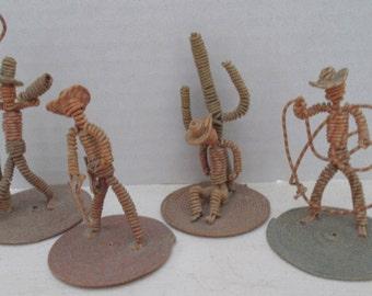 OOAK Vintage Cowboy Set Whimsical Wire Sculpture Western American Figurines Wild West Folk Art Fun