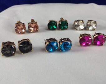 Crystal Stud Earring Designer Inspired Crystal Setting Pick a Color