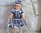 Crochet Denim Blue and White Twilight Sparkle Ruffle 6 Piece Skirt Ensemble for 18 Inch/American Girl Doll Clothes