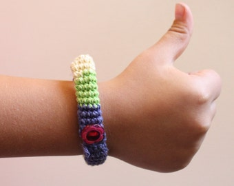 Crochet and felted Bracelet, hand knitted bracelet, girls bracelet, whimsical jewelry, green and lilac, red button, bracelet for girls
