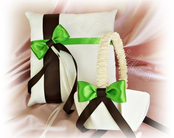 Chocolate Brown and Green Wedding Ring Pillow and Flower Girl Basket,  Wedding Ceremony Accessories