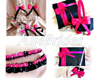 Fuchsia pink and black wedding ring pillow flower girl hot pink and black weddings ring bearer pillow flower girl basket guest book mightylinksfo