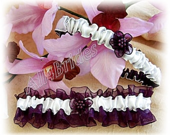 Eggplant wedding bridal garter set, bridal accessories or prom garters