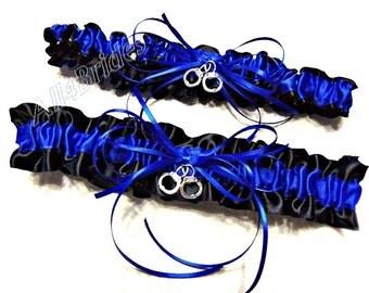 Police wedding bridal leg garter set with handcuff charms, royal blue and black garter belt set.
