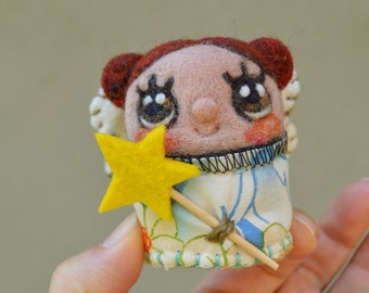 Needle Felted One of a Kind Wool Fairy Doll