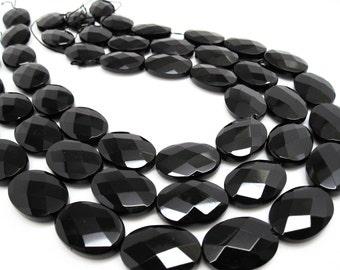 Onyx Beads, 18mm x 25mm, Black Onyx, Luxe AAA, Faceted Oval, Onyx Beads, Black Gemstone, Weddings, Brides, Bridal, Loveofjewelry, SKU 4089A