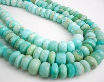 Blue Peruvian Opal Beads, Peruvian Opal Beads, Blue Opal Beads, Rondelles, 14 to 16mm, Blue Opal Rondelles, Wholesale Opal, SKU 4355A