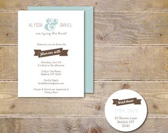 Bridal Shower Invitations . Bridal Shower Invites . Heart Bridal Shower Invitations - Rustic Ampersand