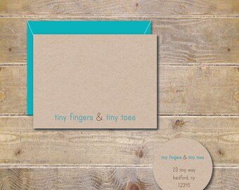 Baby Shower Thank You Cards . Baby Thank You Cards . Thank You Notes Baby . Thank You Notes . Gender Neutral - Tiny Fingers and Tiny Toes