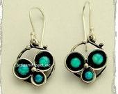 Sterling silver Earrings, oxidized earrings, three blue opal earrings, gemstone earrings, simple earrings, casual - Into the Night E2051