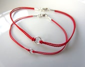 His and Hers Pair of Silver Infinity Circle Red Silk Cord Bracelets with Sterling Silver Ends and Clasp