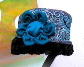 NEW CLOCHE STYLE Blue/Aqua Brocade Reversible Fabric Hat....