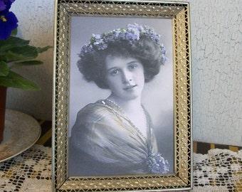 Vintage 5 x 7 Metal Gold Picture Frame, Vintage Gold Metal Frame, Hollywood Regency Photo Frame, Old Fashioned Home Decor Frames