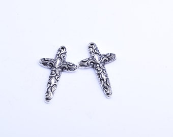 Cross pendant, 55mm, metalized plastic , lite weight , engraved, 2 ea