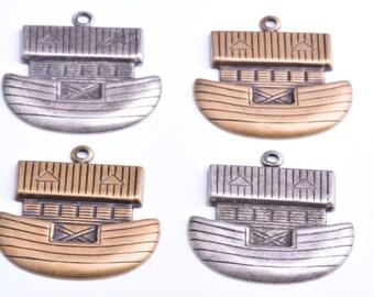 Noah's Ark Charms, Brass Metal stampings, set of 4 each