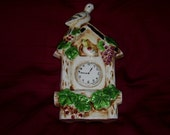 VASE Wall Pocket Bird Clock Japan Japanese Vintage Porcelain