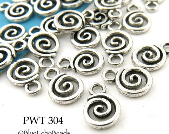 Small Pewter Open Spiral Charms 8mm Antique Silver (PWT 304) 15 pcs BlueEchoBeads