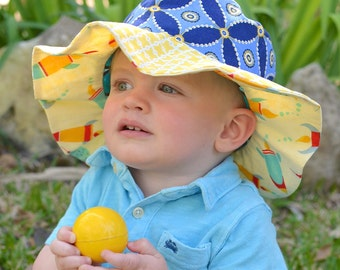 SALE - Wide brim sun hat for baby boys, cute photo prop, summer sun hat, yellow and blue, sun protection