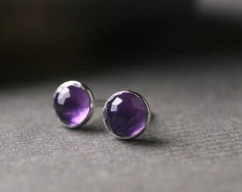 Bezel set rose cut amethyst sterling silver stud post earrings 5mm