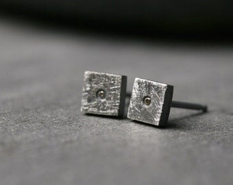 Sterling silver and untreated cognac champagne diamond studs post earrings modern geometric