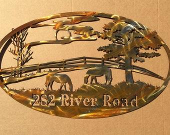 Grazing Horses Ranch Sign (E25)