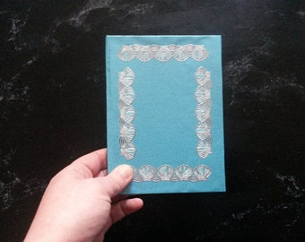 Hand-bound A6 Turquoise Shells notebook