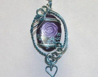 Purple Rose Sterling Silver Sculpted Pendant