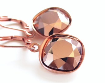 Rose Gold Cushion Cut Crystal Earrings - Crystal Earrings - Copper - created with SWAROVSKI® crystals