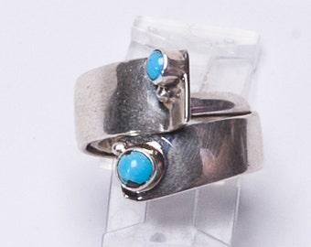 Sterling Turquoise Ring -Navajo Drew Ruiz - Gertrude Zachary Silversmith - sz 8 1/4