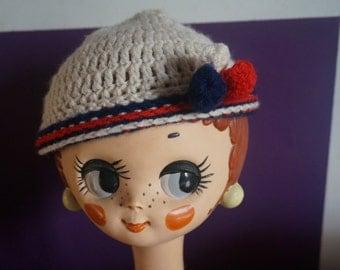 vintage 60's 70's crochet pompom hat red off white blue bobble beanie crocheted 1960 1970