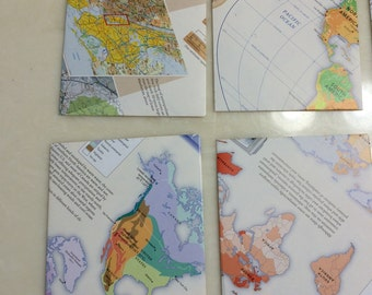 Five handmade upcycled map envelopes