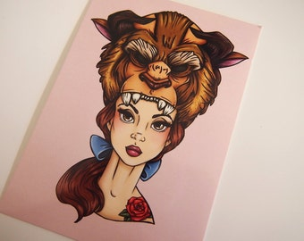 Hunter Belle Beauty and the Beast Postcard