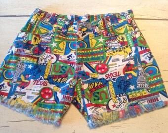 60s Novelty Print Shorts Denim Surf Beach Wear Cut Off Jean Unisex S/M