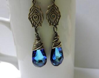Brass Peacock Feather and Bermuda Blue Swarovski Crystal Earrings