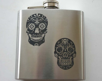 Sugar Skulls Engraved Flask 6oz Etched Flask Stainless Steel Day Of The Dead