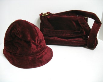 Vintage Hat & Purse Crushed Velvet Hat Hippie Mod Hipster Boho Purse Twiggy Union Made