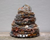 harvest moon fiber effects™  12yds specialty yarn embellishment fiber bundle . silver gray copper orange