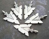 5 Arrowhead Charms Pendants Antiqued Silver