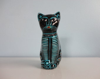 VINTAGE black and turquoise terra cotta KITTY CAT