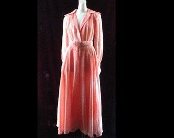 Vintage 1970s Party Dress Long Semi Sheer Orange Maxi Dress Full Skirt  Plunging Neckline Small D145