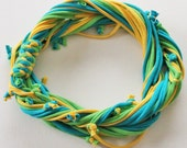 T Shirt Scarf - Infinity Circle Scarves Recycled Cotton - Turquoise Aqua Blue Lemon Sun Yellow Lime Chartruese Bright Green Necklace Casual