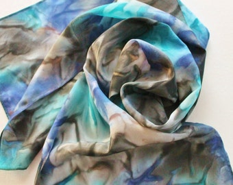 Hand Painted Silk Scarf - Handpainted Scarves Black Gray Grey Charcoal Turquoise Aqua Navy Blue Sapphire Royal Tan Beige Cream Dyed