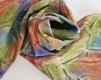 Hand Painted Silk Scarf - Handpainted Scarves Navy Blue Olive Green Avocado Burnt Orange Rust Plum Eggplant Purple