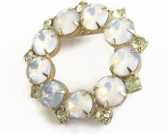 Vintage Opalescent Cabochons & Citrine Rhinestones Circle Brooch or Pin