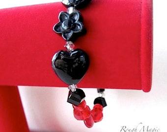 Red Black Bracelet, Valentine Jewelry, Asymmetric Bracelet, Hearts Flowers, Sweetheart Bracelet, Romantic Jewelry, Black Onyx Gemstones